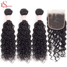 LS Hair Brazilian Water Wave Bundles With Closure Remy Human Free Shipping 3