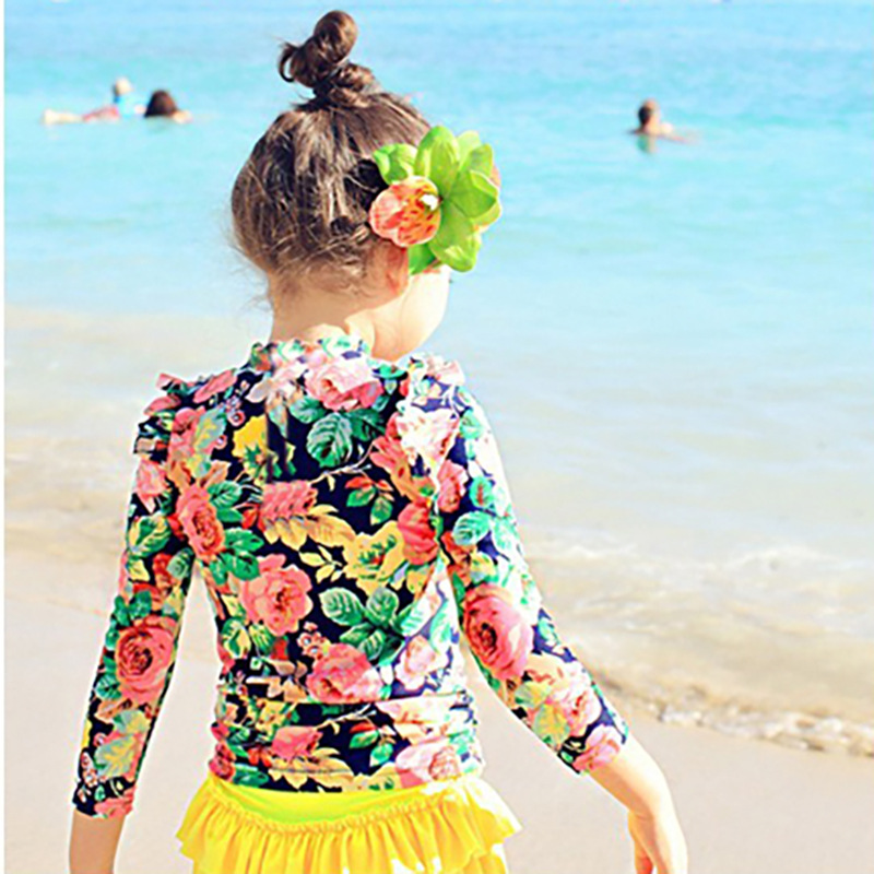 Haiyishan 2015 New Style Children Bathing Suit Skirt Split Type Long Sleeve Sun-resistant GIRL'S Children Big Kid Bathing Suit