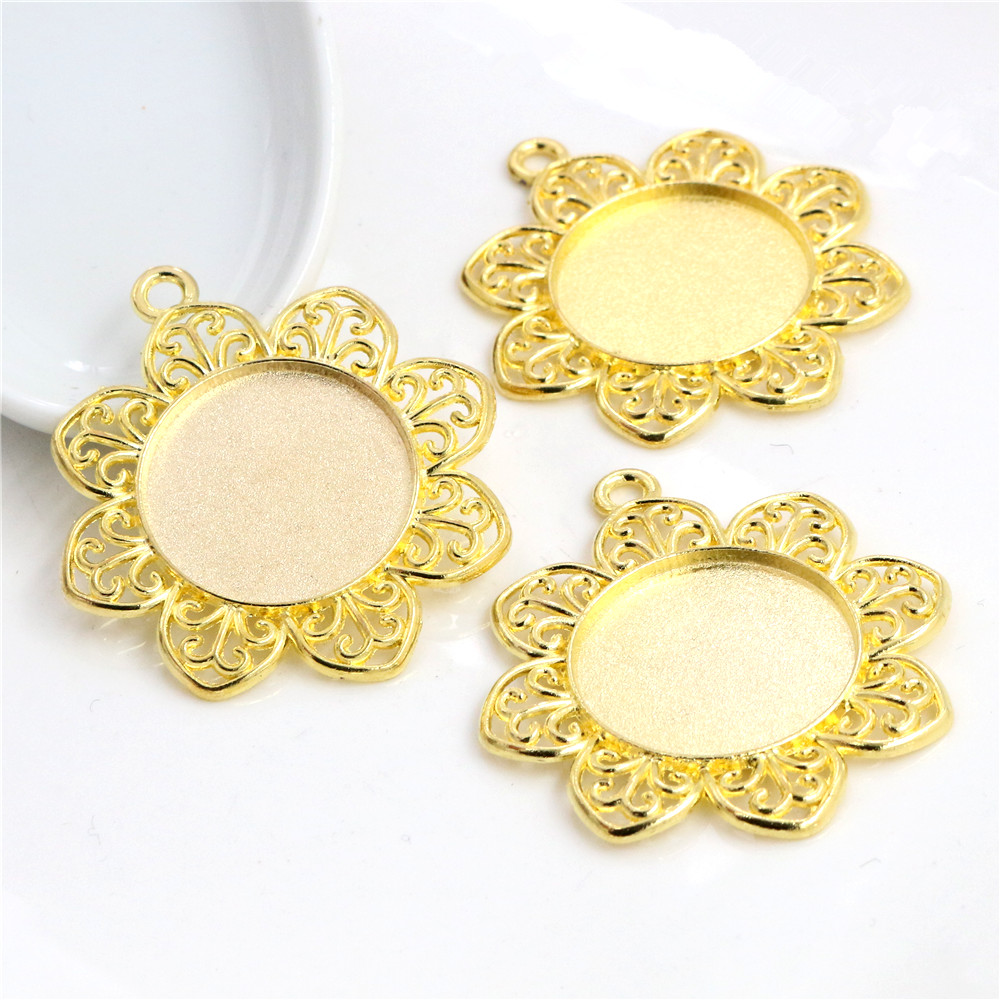 3pcs 25mm Inner Size Gold Colors Flowers Style Cabochon Base Setting Charms Pendant (A4-37)