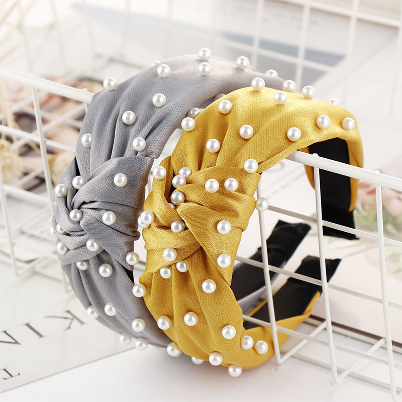Haimeikang Creative New Pearl Headband Solid Color Wide Side Knotted Hair Hoop For Women Sweet Fashion Hair Accessaries