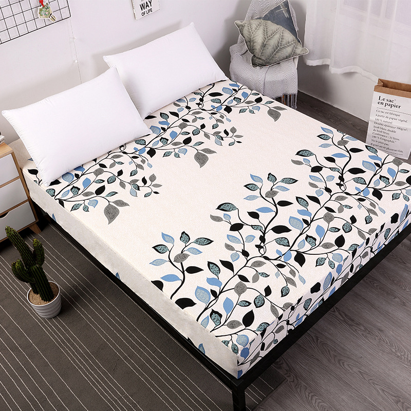 Quality Printing Bed Pattern Mattress Protector Pad Fitted Mattress Covers Moisture Proof Bed Cover Sheet For Single Size Bed