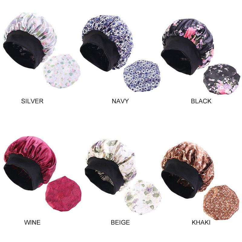 Muslim Women Elastic Wide Sleeping Satin Turban Hat Bonnet Cancer Chemo Beanies Cap Headwrap Headwear Hair Accessories in Women 39 s Hair Accessories from Apparel Accessories