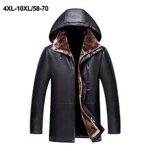 2019 New Men Leather Jacket Faux Sheepskin Coat Winter Leather Coat Overcoat Motorcycle Leather Jacket Hooded Plus Size 4XL-10XL plus size faux leather panel coat