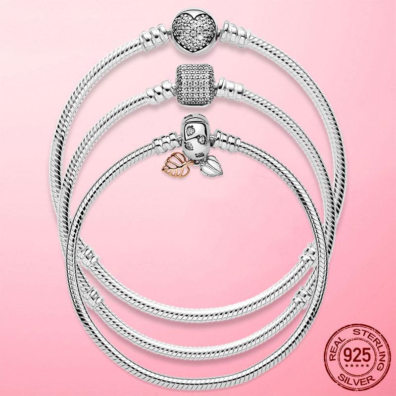 Лучшие продажи 6 стилей 925 стерлингового серебра в форме сердца серебряная цепочка, браслет для женщин, платье для женщин, оригинальный шарм...
