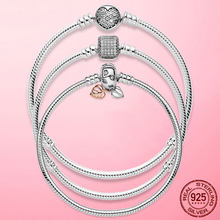 TOP SALE Femme Bracelet 925 Sterling Silver Heart Snake Chain Bracelet Bangle For Women Fit Original Charm Beads Jewelry Gift