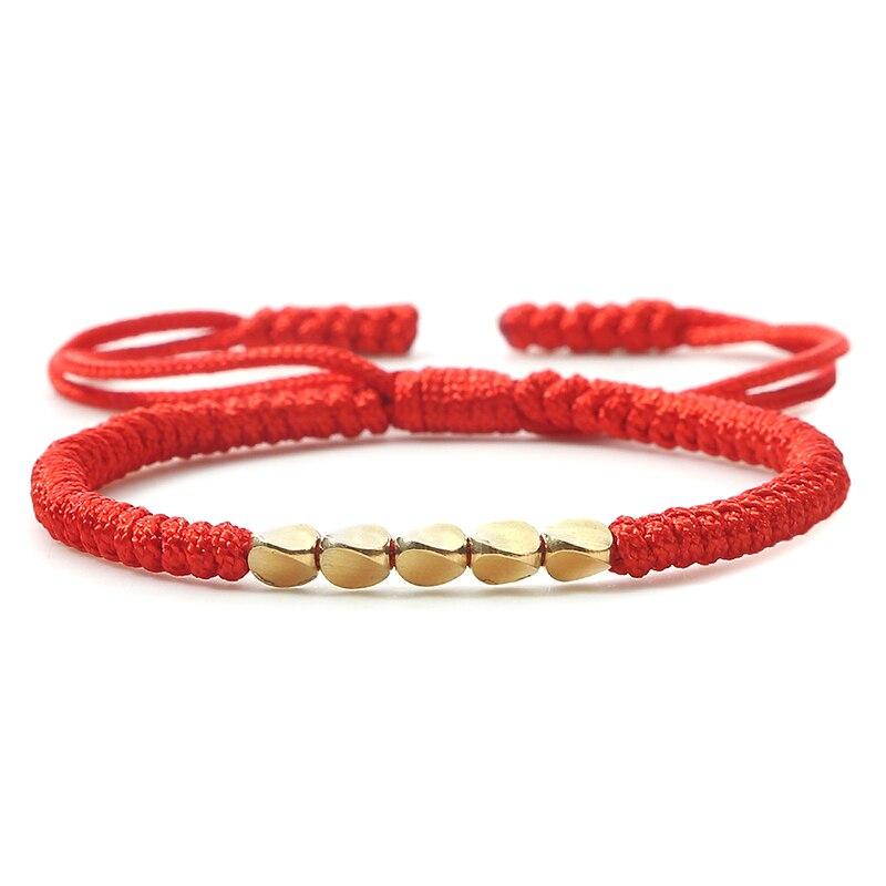 Handgemachte buddhistische geflochtene Baumwolle Kupfer Perlen Rope Armband DE