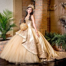 GY luxury lace-up corset top sweet 16 girls occasion dress Vestido de 15 anos Gold Quinceanera Dresses Lace Applique Beaded