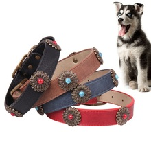 Spot Bronze Daisy Pet Collar Blue Black Red Collars Leads Dog Necklace With Flowers  Adjustable x