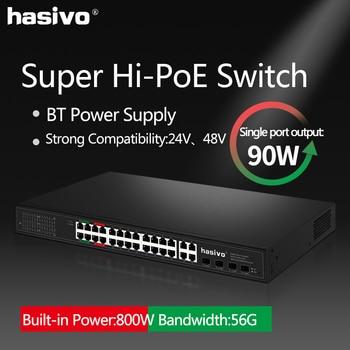 24 Port Gigabit PoE Switch 4GEx90W 4GExAUTO 16Gx30W Ethernet switch With 4 SFP Combo Hi power PoE Network Switch 24 ports poe switch with 4 gigabit sfp combo 24 poe 4 sfp fiber ports gigbit poe ethernet network switch 1000mbps rackmount