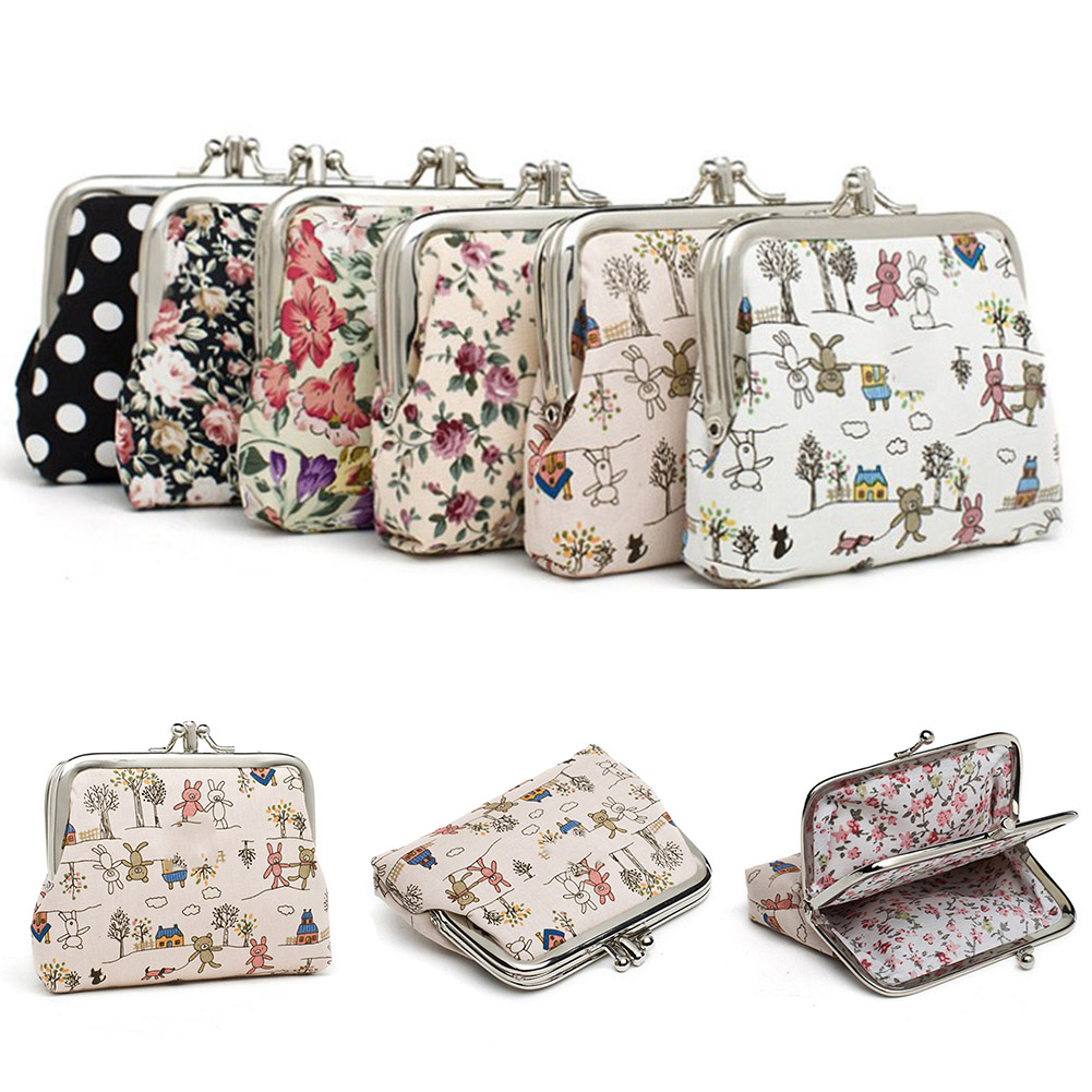 Canvas Women Coin Purse Small Bag Cute Flower Printed Money Bag Purse Girls Mini Bag For Ladies Coin Purse Kids Wallet Purses