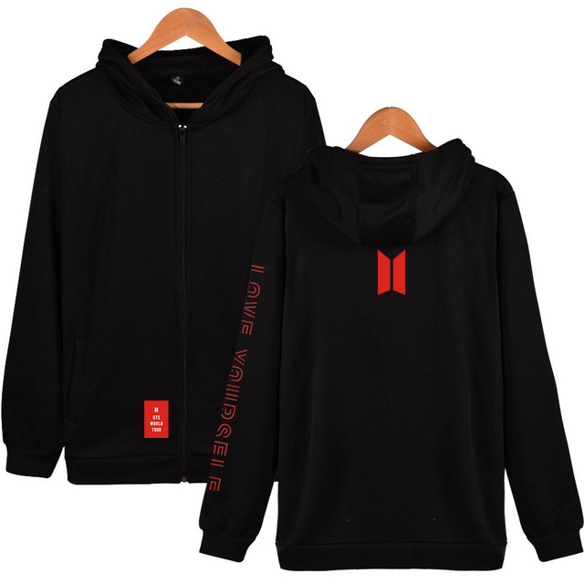 2021 Winter Kpop Korean Long Sleeve Thick Zipper Hoodie Women Sweatshirt Harajuku Casual Bangtan Boys Love Yourself Fans Clothes 1