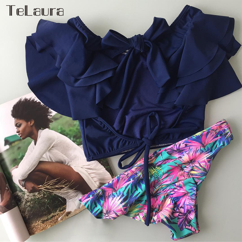 H77e7c6ca9d244d46b8d940905f8f76dcr Ruffle High Waist Bikini 2019 Swimwear Women Swimsuit Push Up Bikinis Women Biquini Print Swimsuit Female Beachwear Bathing Suit
