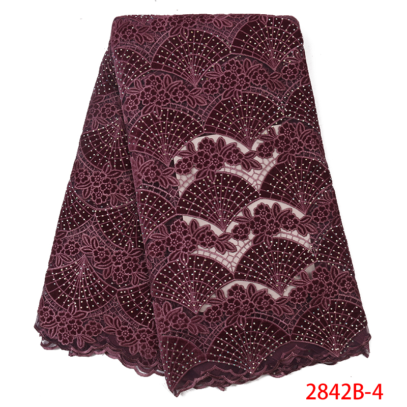 African Lace Fabric Newest Velvet Lace Fabric 2019 Nigerian Embroidered Net Mesh Laces With Stones For Dresses KS2842B-4