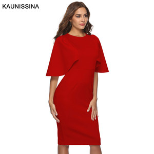 Image 5 - KAUNISSINA Elegant Cocktail Dress Bodycon Solid Knee Length Formal Party Gowns Back Split Robe Homecoming Dresses