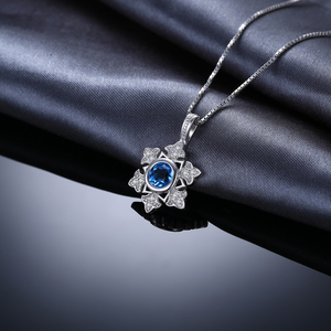 Image 2 - JewelryPalace Snowflake 1.1ct Genuine Blue Topaz Pendant 925 Sterling Silver Pendant Gift For Women Not Contain Chain 2018 Hot