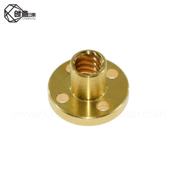 Creativity 8 Screw nut Brass 22mm Flange Nut For CNC 3D Printer Parts 8mm 4-Start Lead Screw 300mm long With Copper image