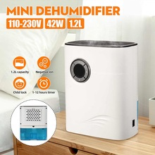Mini Electric Dehumidifier Anion Air Purifier 1200ml Large Water Tank Kids Lock Power Off Protection Mute Air Dryer Home Office