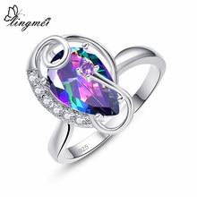 Lingmei atacado transporte da gota moda feminina anéis de casamento multi zircão cor prata anel tamanho 6 7 8 9 jóias natal