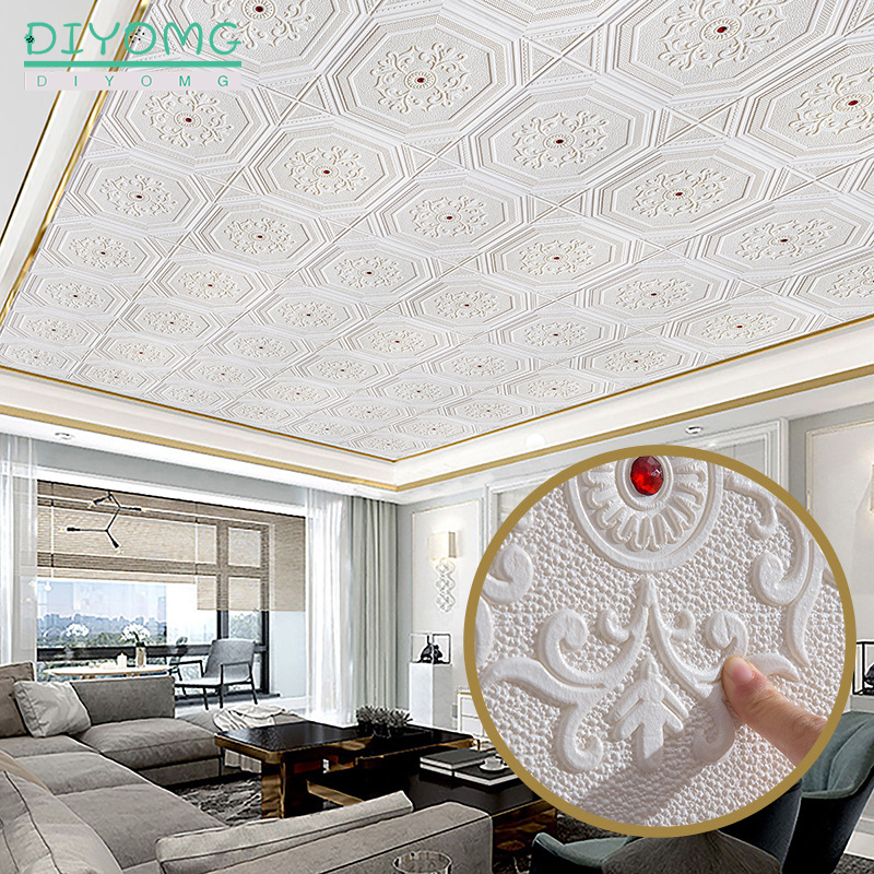 Roof Decoration Wallpaper 3D Waterproof Self-adhesive Roof Ceiling Contact Paper Living Room Decor Wallcovering Diamond Decals