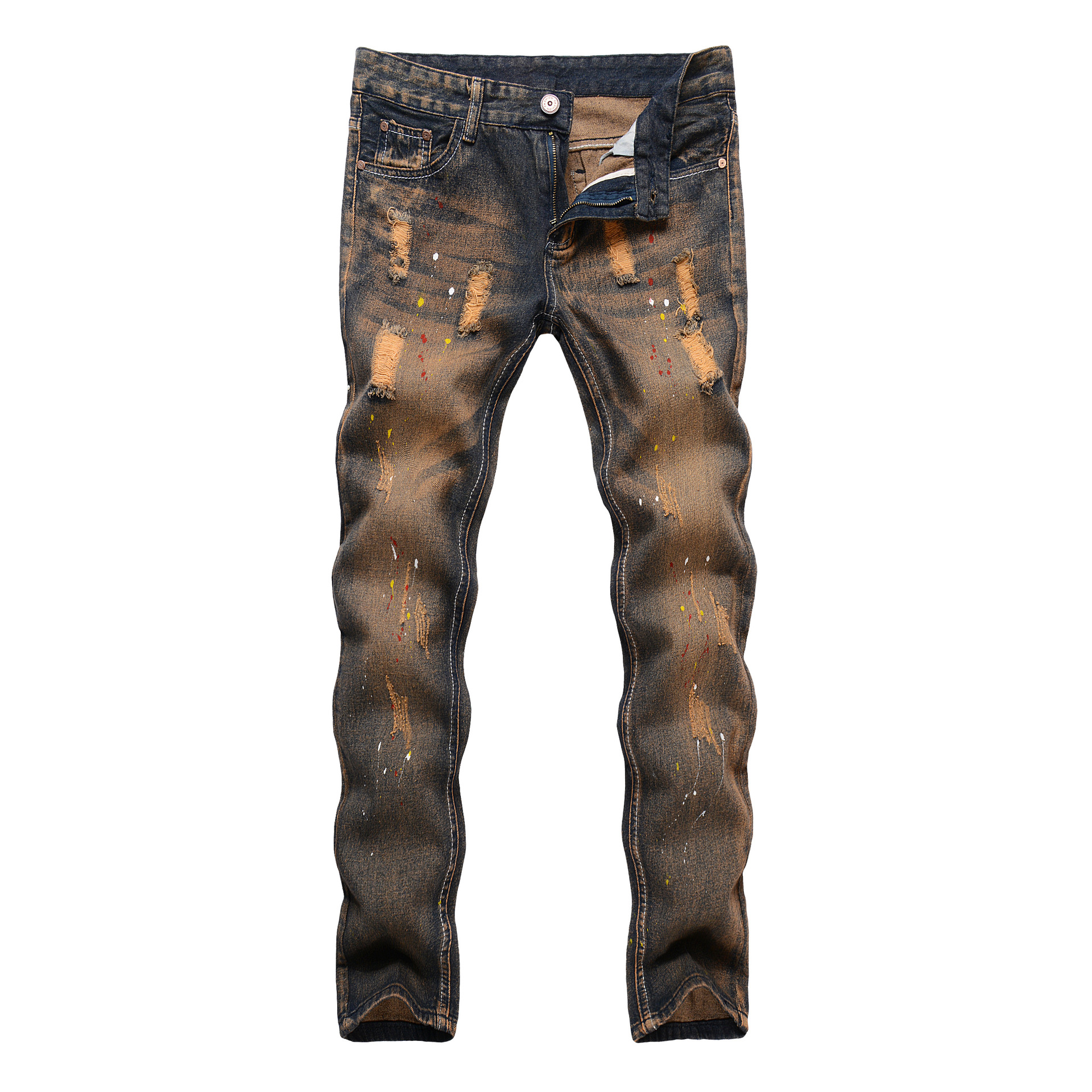 2017 New Style With Holes Jeans Men Slim Fit Trousers Men's Casual Pants Men's Trend Skinny Pants
