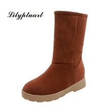 2019 winter Korean round head boots warm thick plush flat cotton boots female non slip rubber bottom set foot snow boots