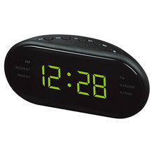 1.2 Inch LED 3 FM&AM Radio Display Clock Electronic Desktop Alarm Clock Digital Table Radio Gift Home Office Supplies EU Plug