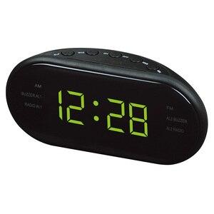 Image 1 - Reloj con pantalla de Radio FM y AM LED de 1,2 pulgadas reloj despertador electrónico de escritorio, Radio de mesa Digital, regalo para el hogar y la Oficina, enchufe de la UE