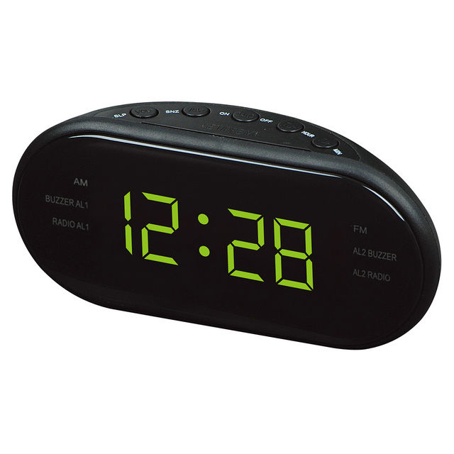 Reloj con pantalla de Radio FM y AM LED de 1,2 pulgadas reloj despertador electrónico de escritorio, Radio de mesa Digital, regalo para el hogar y la Oficina, enchufe de la UE
