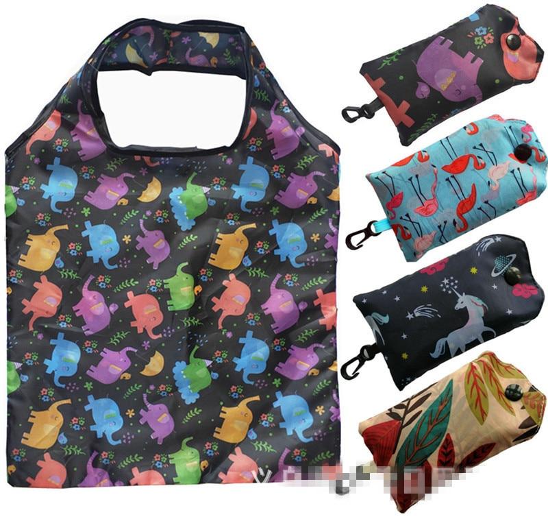 Hot New Fashion Pocket Square Shopping Bag Eco-friendly Folding Reusable Portable Shoulder Handbag Travel Grocery Bags