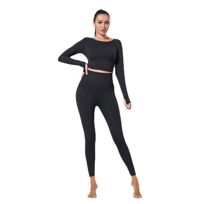 2 Piece Set Women Workout Clothing Gym Yoga Set Fitness Sportswear Crop Top Sports Bra Seamless Leggings Active Wear Outfit Suit 4
