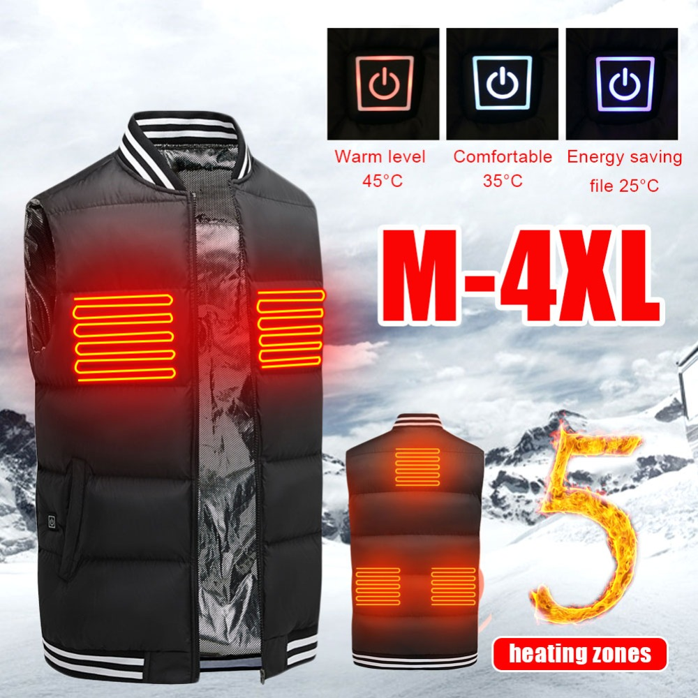 Electric Heated Vest Washable USB Charging Heated Clothing Winter Skiing Hiking Camp куртка с подогревом veste chauffante