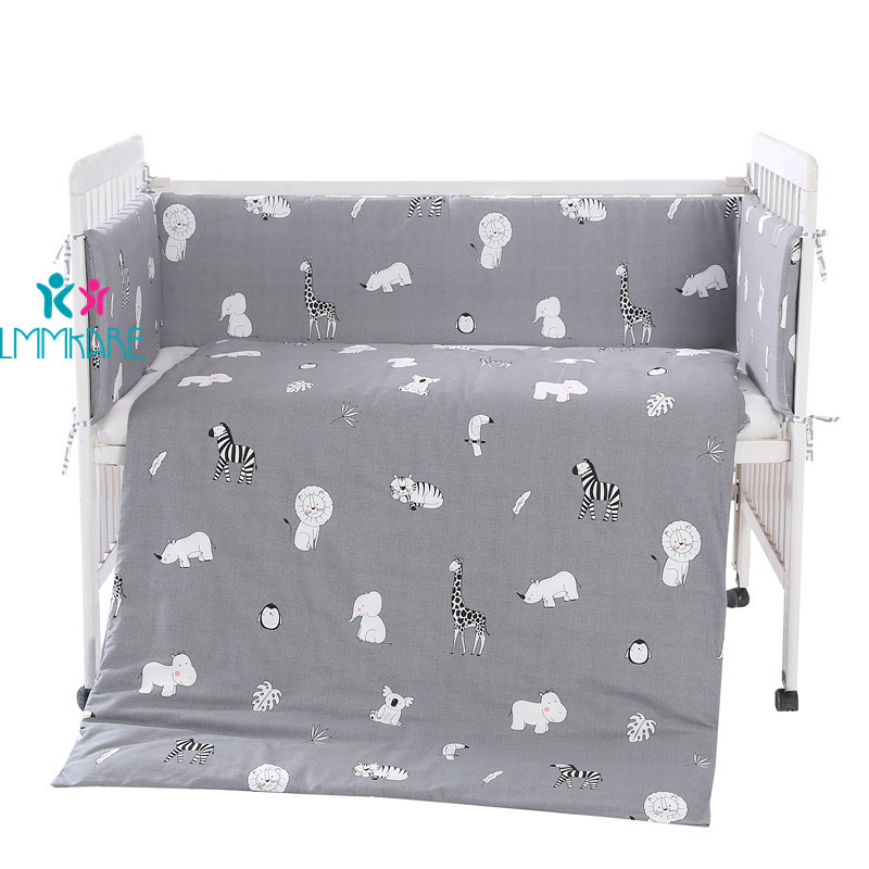 5pcs Grey Baby Bed Bumpers Bedding Set For Newborn Safety Protection Cushion Cotton Breathable Koala Crib Bumpers Customizable