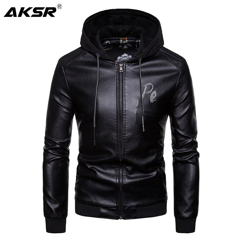 AKSR Men Hooded Faux Leather Jacket Slim Zipper Windbreaker PU Jackets Men Streetwear Hip Hop Bomber Biker Jacket Hoody Chaqueta