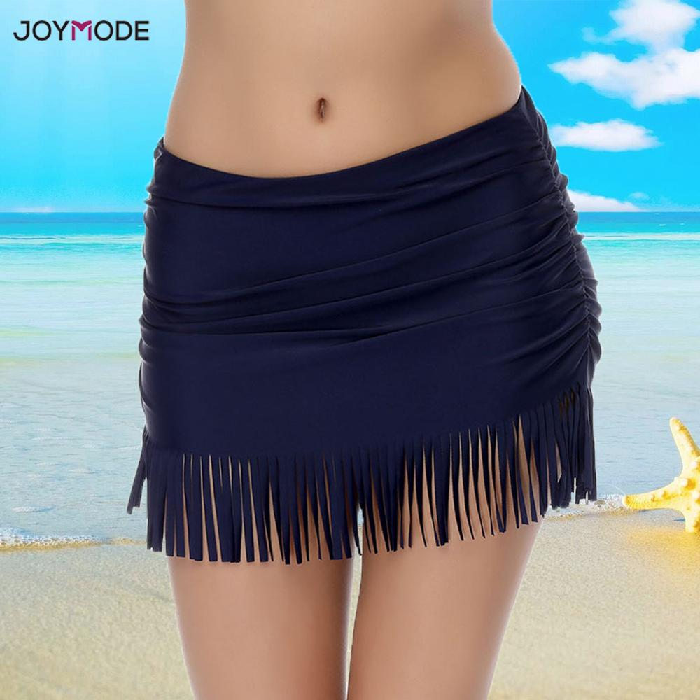 JOYMODE Beach Skirts Tassels Black Bikini Bottoms Girl Swim Dress Shorts Sexy Skirts Bikini Solid Swimsuit Mujer Verano Swimwear