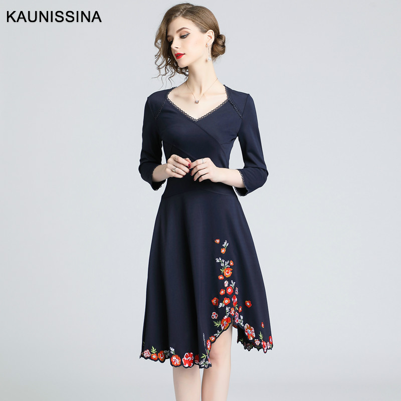KAUNISSINA 2019 New Autumn Cocktail Dresses Women Embroidery Vintage Homecoming Dress Ladies V-Neck Elastic Midi Vestidos