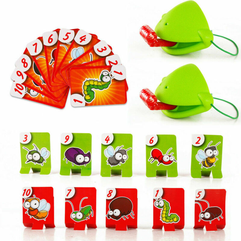 Funny Desktop Game Toys Chameleon Lizard Mask Wagging Tongue Lick Cards Board Game For Children Family Party Toys