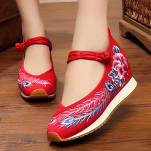 Vintage Embroidered Women Shoes 2020 Old Peking Ethnic Cotton Fabric Hidden Heel Shoes Buckle Strap Zapatos De Mujer Ladies