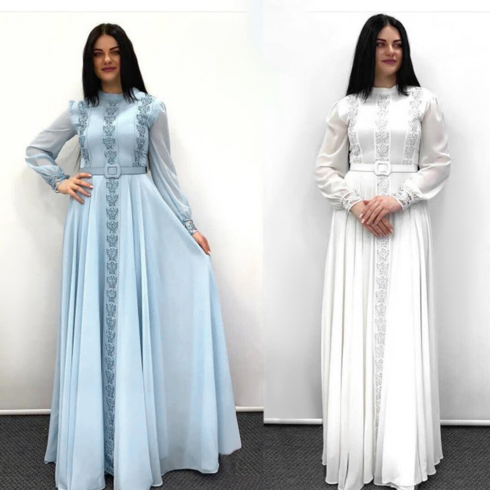 2020 New Autumn fashion long sleeve Round neck dress for women Abaya Dubai kaftan caftan American clothing vestido mujer