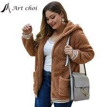 Sweatshirt Outerwear Overcoats Teddy Faux-Fur-Jackets Female Warm Thick Winter Casual