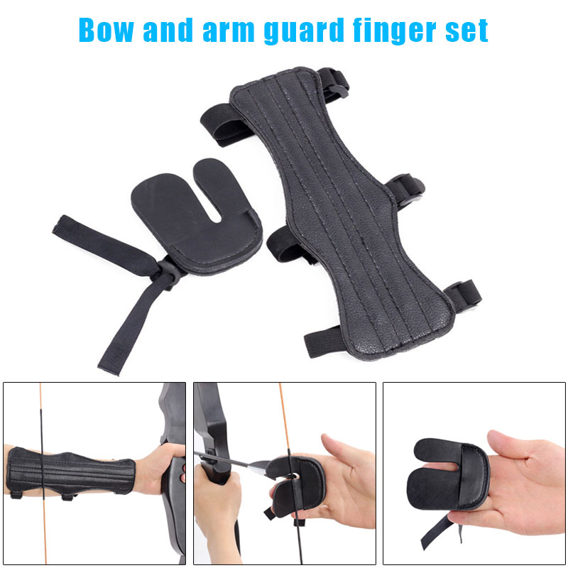 Archery Arm Forearm Guard Finger Tabs Protector Set For Traditional Recurve Bow &T8