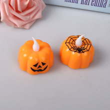 Classic Candle Lantern Pumpkin Design Small LED Durable Indoor Candle Lamp Candle Lantern Halloween Party Decor Pattern Random diamond pattern candle cover