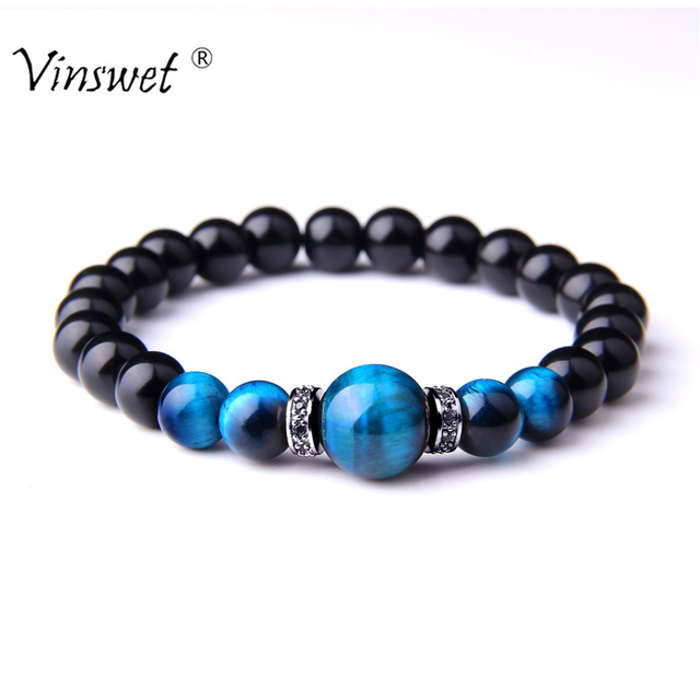 Natural Stone Bracelets Men Royal Blue Tiger Eye Bracelets Healthy Energy Bangle Fashion CZ Charm Black Onyx Beads Pulsera