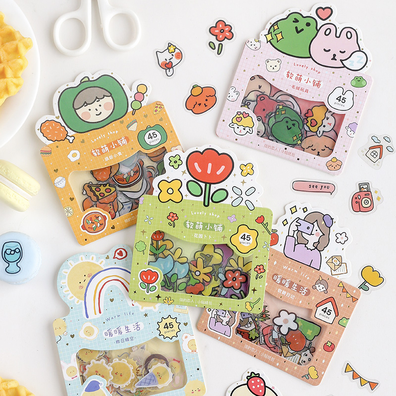 45pcs/pack Cartoon Cute Adhesive Paper Sticker Decorative Scrapbook Sticky Label For Diary Album Stationery