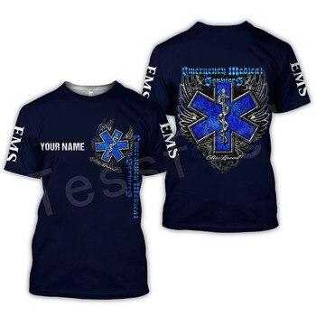 Tessffel Emergency Medical Service Technician EMT EMS Paramedic Hero New Fashion Unisex Casual 3DPrint Short Sleeve T-Shirts s-3 2