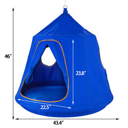 Garden hammock 220 lbs. Load-bearing sturdy and reliable children blue pod swing chair tent indoor and outdoor