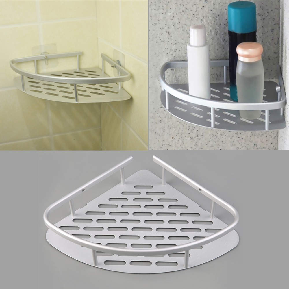 1 Pcs Aluminum Shower Wall Mount Corner Shelf Holder Bathroom Storage Organizer Kit Set