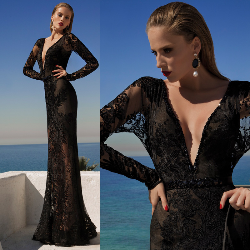 New 2019 Floor Length V-Neck Appliques Prom Evening Party Gown Embroidery Long Black With Long Sleeves Mother Of The Bride Dress