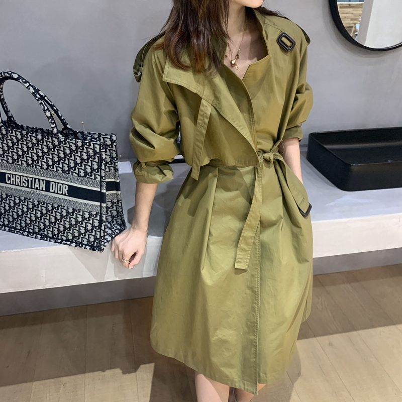 Temperament Trench Coat Women's 2020 Spring New Style Khaki Lace-up Mid-length Trench Coat Women's Long Windbreaker Outwears