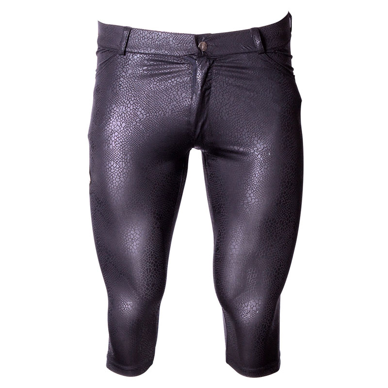 Sexy Men Snake Shiny Capri Thin High Elasticity Pirate Shorts Half Tight Pants U Convex Pouch Leggings Dance Gay Wear Plus Size
