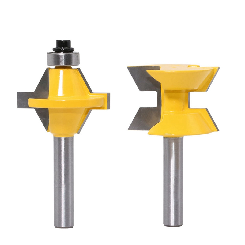 TOP 2Pcs 120 Degree Matched 8Mm Shank Tongue And Groove Router Bit Set Woodworking Groove Chisel Cutter Tool